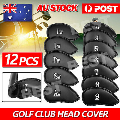 AU16.95 • Buy 12 PCS Golf Club Iron Head Covers Putter Headcover Protect Set PU Leather Black