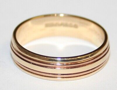 £99.95 • Buy New Old Stock 9ct 2 Colour Yellow & Rose Gold 5mm Wedding Ring Band Size M