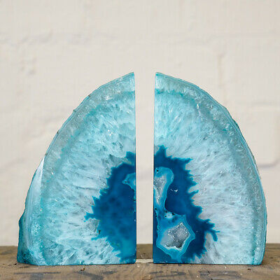 £46.99 • Buy Large Turquoise Agate Geode Bookends