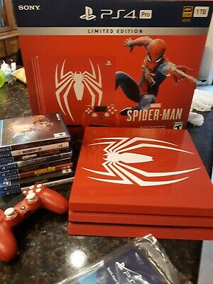 AU905.21 • Buy Sony PlayStation PS4 Pro 1TB Limited Edition Spider-Man Console With 8 Games