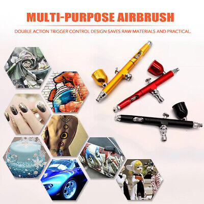 $18.89 • Buy 0.3mm Airbrush Nail Art Paint Tattoo Tool Set Dual Action Gravity Feed Gun Spray