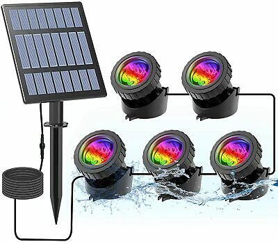 Solar Underwater RGB LED Spot Light Color Changing Outdoor Garden Yard Pool Pond • 12.90£