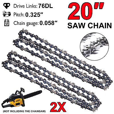£13.27 • Buy 2X 20'' Chainsaw Saw Chain Parts 76 Drive Links Chainsaw Blade Crosscut 0.325''