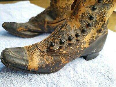 19th Century Levis & Broxholm Woman's Child Leather Boots • 83.24£
