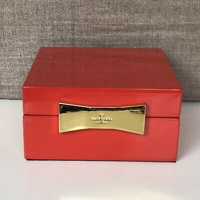 $ CDN25.16 • Buy Kate Spade Lenox Red Lacquer Square Jewelry Box Gold Tone Bow