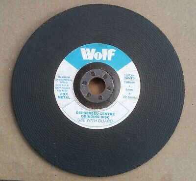 Wolf Depressed Centre Metal Grinding Disc 230mm X 6mm X 22mm • 5.50£