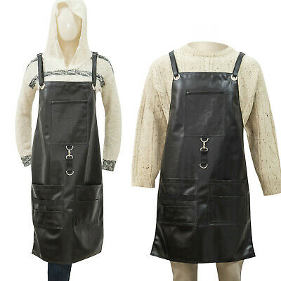 $27.99 • Buy Apron PU Leather-IkAS-Barber Chef Barista-Pockets And Crossback Straps-men Women