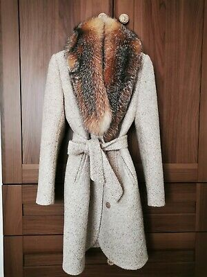 New Wool Coat With Real Fur (can Buy Without) S 8 36 42 • 200£