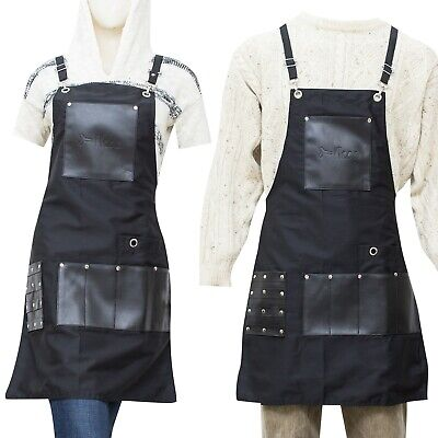 $19.99 • Buy Apron Bib Canvas For Barber Chef Workers-8 Pockets And Crossback 22 WX30 L IKAS