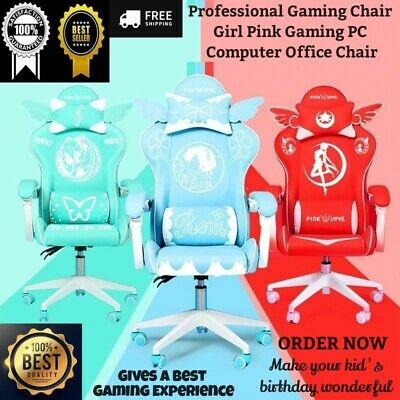 AU482.83 • Buy Professional Gaming Chair Girl Pink Gaming PC Computer Desk Swivel Office Chair