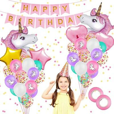 AU25.99 • Buy Unicorn Party Supplies Happy Birthday Set Banner Balloons Decoration