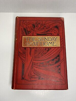 1896 Antique Leather Bound Hardcover  The Sunday At Home  Book • 43.86£