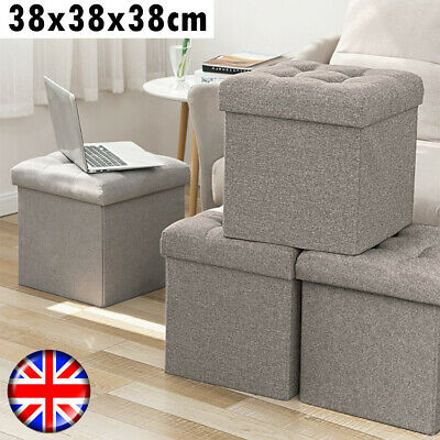 Fabric Folding Foot Rest Stool Storage Box Chair Cube Footstool Pouf Bench • 16.79£