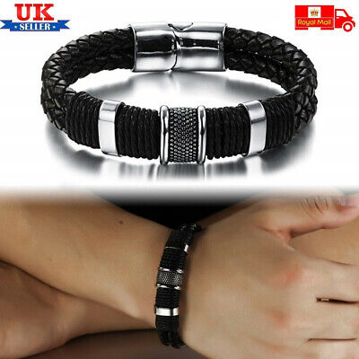 Mens Leather Braided Bracelet Wristband Stainless Steel Clasp Jewellery Gift UK • 7.95£