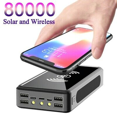 AU37.48 • Buy 80000mAh Power Bank Solar Wireless Portable Phone Charging