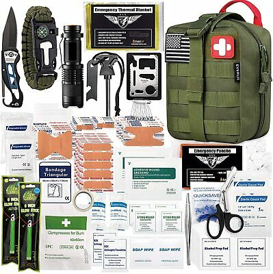 $63.92 • Buy Survival Molle First Aid Kit Emergency Gear Military Trauma Bag 250 Pieces Set