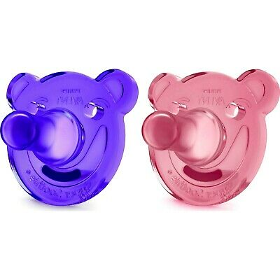 AU16.57 • Buy Philips Avent Soothie Bear Shape Pacifiers, 0-3 Months, Purple/Pink - 2 Counts