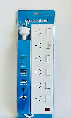 AU24.95 • Buy 6 Way Power Board Switch Surge Protector With 1 Meter Lead