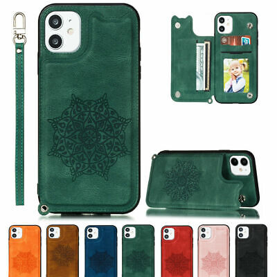 AU15.89 • Buy Embossed Wallet Card Slot Strap Case Cover For IPhone 12 Pro Max 6 7 8+ XR 11Pro
