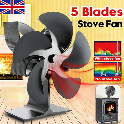 Heat Power Stove Top Fan For Wood Burner Log Burning Fire 5 Blades Eco-Friendly • 20.99£
