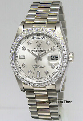 $ CDN23748.15 • Buy Rolex Day-Date President 18k White Gold Diamond Dial/Bezel Mens Watch 18039