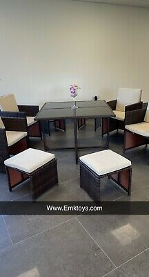 Cube Rattan Garden Furniture Set Chairs Sofa Table Outdoor Patio Wicker 8 Seater • 700£