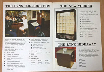 DDA Digital Disc Automation Lynx Jukebox / New Yorker Wallbox A4 Sales Brochure • 10£