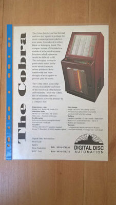 DDA Digital Disc Automation Cobra Jukebox / Rochester Wallbox A4 Sales Flyer • 8£