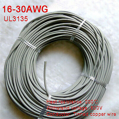 AU9.49 • Buy Gray 16-30AWG Flexible Silicone Wire Cable, HIGH TMPE 200℃, Tinned Copper Wire