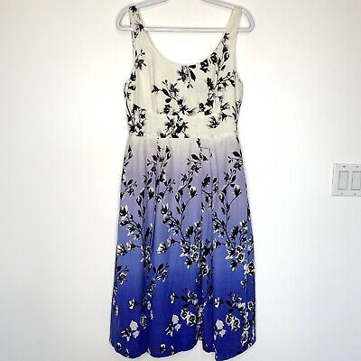$ CDN44.19 • Buy Ivanka Trump Sleeveless Fit And Flare Linen Blue Ombre Floral Dress Size 10