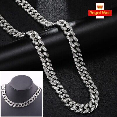 £12.99 • Buy 18-24 Mens Boys Hip Hop Thick Necklace Iced Out Chain Rhinestone Shiny Jewellery