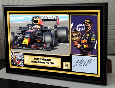 Tribute To Max Verstappen Bahrain 2021 F1 Framed Canvas Signed Print  Great Gift • 19.99£