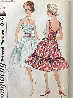 Vintage SIMPLICITY 60s Rockabilly Swing Dress Sewing Pattern Bust 32  Complete  • 10£
