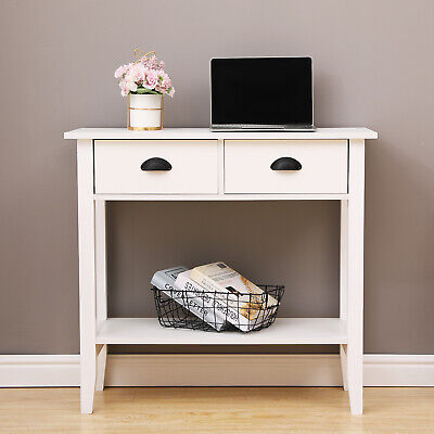 £58.99 • Buy White Console Table With 2 Drawers Hall Desk Shelf Hallway Storage Furniture