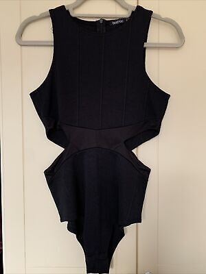 £5 • Buy Boohoo Black Bandage Cut Out Body Size 12 New Small Defect