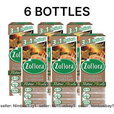 6 X Zoflora 120ml Concentrated Disinfectant Kills 99.9% - FESTIVE FIRESIDE - UK • 14.99£