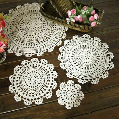 £3.99 • Buy White Beige Lace Doily Tablecloth Hand Crochet Placemat Cotton Table Cover Mats