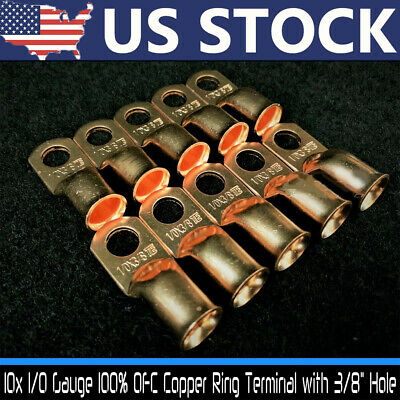 $9.39 • Buy 10x Gauge 1/0 3/8  Battery Cable Ends Lugs Hole OFC Copper Ring Terminals Wire