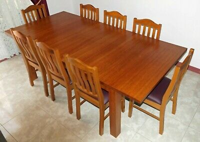 AU1750 • Buy Tasmanian Oak Solid Dining Table With 8 Chairs