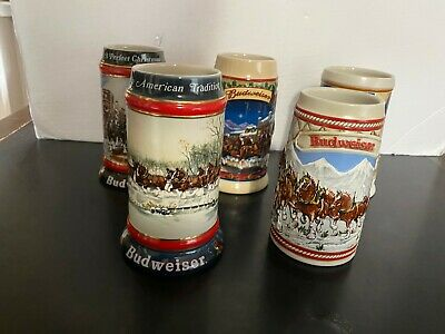 $ CDN62.49 • Buy Lot Of 5 Budweiser Holiday Steins 1985 - 1990 - 1992 - 2003 - 2005