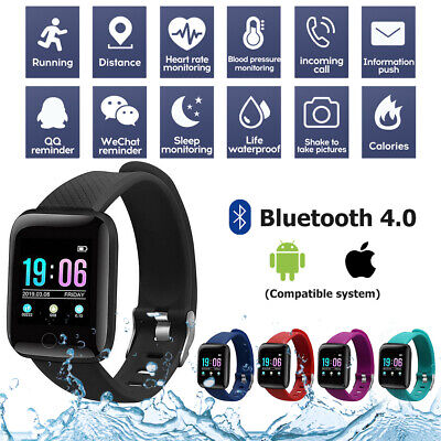 AU11.99 • Buy Bluetooth Smart Watch Waterproof Heart Rate Fitness Tracker For IPhone Android