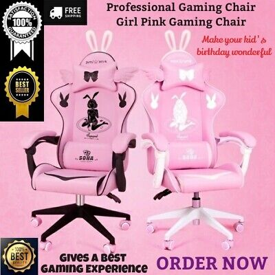 AU459.62 • Buy Professional Gaming Chair Girl Pink Gaming PC Computer Desk Swivel Cute Chair 1