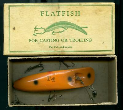 $ CDN18.82 • Buy 1941 Helin # 14 Wooden Flatfish Lure In Box With Papers