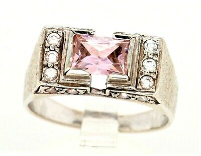 AU729.30 • Buy 9ct White Gold Dress Ring Pink & White Cubic Zirconia CZ Fine Jewellery