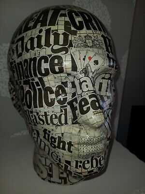£12 • Buy Quirky `Daily Mail` Punk Style Newspaper Decoupaged Male Head.28 Cms High.