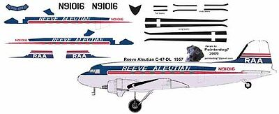 Reeve Aleutian Douglas DC-3 C-47 Airliner Pointerdog7 Decals For Minicraft Kits  • 7.25£