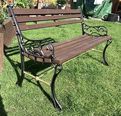 Garden Bench Two Seater Wrought Iron And Wood • 90£