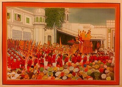 $1799.99 • Buy Delicate Hand Painted Golden Maharaja Of Udaipur Fine Art Procession Painting