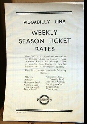 London Underground - Piccadilly Line Weekly Season Ticket Rates- Dated July 1929 • 0.95£