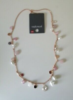 £10.99 • Buy Principles Rose Gold Plated Pink Bead And Pearl Rope Necklace